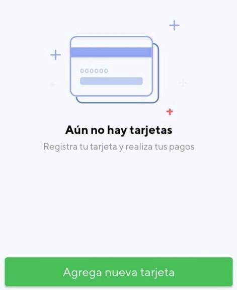 Mensaje de Rappi cuando aún no has registrado tarjetas en su app.
