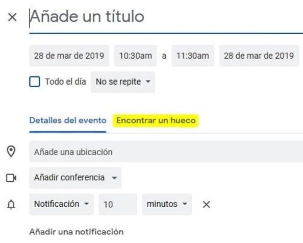 Imagen de la programación de una reunión en Google Calendar.